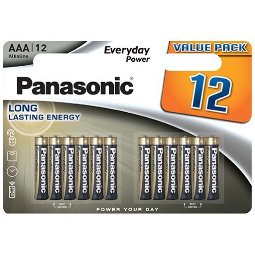 AAA - Blister 12 Piles alcaline Panasonic Everyday Power