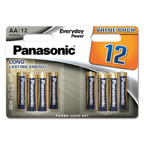 AA - Blister 12 Piles alcaline Panasonic Everyday Power