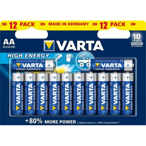 AA - Blister 12 piles alcaline Varta High Energy